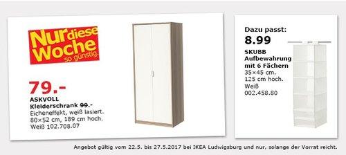 IKEA ASKVOLL Kleiderschrank, Eicheneffekt weiß lasiert, 82x52 cm, 189 cm hoch, weiß - jetzt 20% billiger