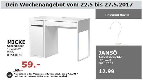 IKEA MICKE Schreibtisch, 105x50 cm, weiß - jetzt 14% billiger