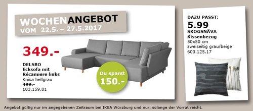 IKEA DELSBO Ecksofa mit Repariere links, Knies hellgrau - jetzt 30% billiger