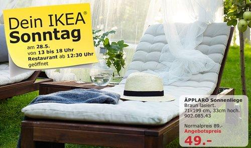 IKEA ÄPPLARO Sonnenliege, braun lasiert, 71x199 cm, 33 cm hoch - jetzt 45% billiger