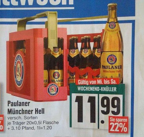 Paulaner Münchener Hell, versch. Sorten, Ka. 20 x 0,5 -L-Fl. - jetzt 21% billiger