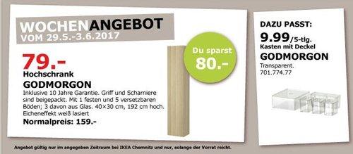 IKEA  GODMORGON Hochschrank, 40x32x192 cm, Eicheneffekt weiß lasiert - jetzt 50% billiger