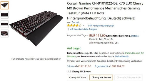 Corsair Gaming CH-9101022-DE K70 LUX Cherry MX Brown Performance Mechanisches Gaming Tastatur - jetzt 18% billiger