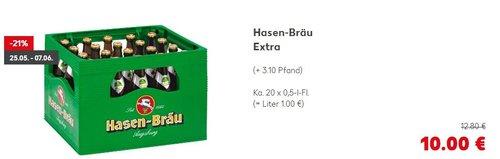 Bier Hasen-Bräu Extra, Ka. 20 x 0,5-l-Fl. - jetzt 22% billiger