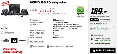 Logitech Z906 3D-Stereo-Lautsprecher THX (Dolby 5.1-Surround-Sound und 500 Watt) schwarz - jetzt 24% billiger