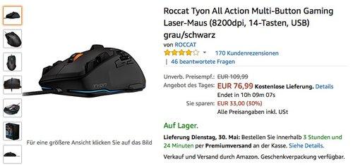 Roccat Tyon Gaming Laser-Maus - jetzt 30% billiger