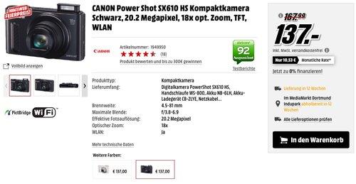 Canon PowerShot SX610 HS Digitalkamera - jetzt 18% billiger