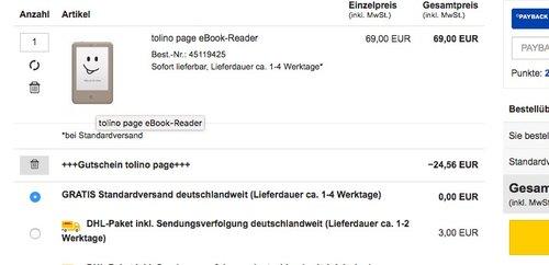 tolino page eBook-Reader - jetzt 36% billiger
