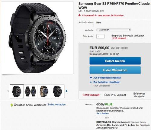 Samsung Gear S3 Frontier R760 - jetzt 9% billiger