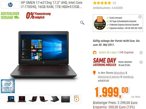 OMEN by HP (17-w213ng) Gaming Notebook - jetzt 13% billiger