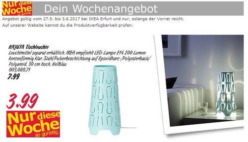 IKEA  KAJUTA Tischleuchte, 30 cm hoch, hellblau - jetzt 50% billiger