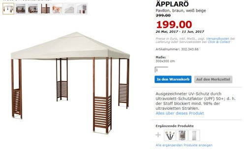 IKEA ÄPPLARÖ Pavillon, 300x300 cm,  braun, weiß beige - jetzt 33% billiger