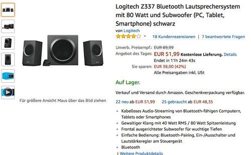 Logitech Z337 Bluetooth Lautsprechersystem - jetzt 20% billiger