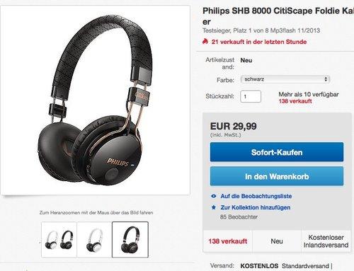 Philips SHB 8000 CitiScape Foldie Kabelloser Bluetooth On-Ear-Kopfhörer, schwarz oder weiß - jetzt 49% billiger