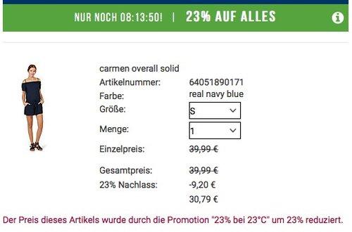 23% auf ALLES bei Tom Tailor (Bsp.: carmen overall solid Gr. S ) - jetzt 23% billiger