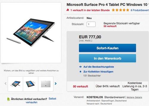 Microsoft Surface Pro 4 Tablet-PC (Intel Core i5, 4GB RAM, 128 GB) - jetzt 8% billiger