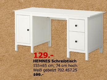 IKEA  HEMNES Schreibtisch, 155x65 cm, 74 cm hoch, weiß gebeizt - jetzt 35% billiger