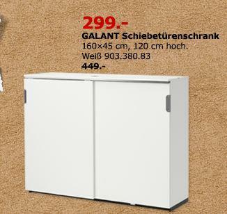 IKEA  GALANT Schiebetürenschrank, 160x45 cm, 120 cm hoch, weiß - jetzt 33% billiger