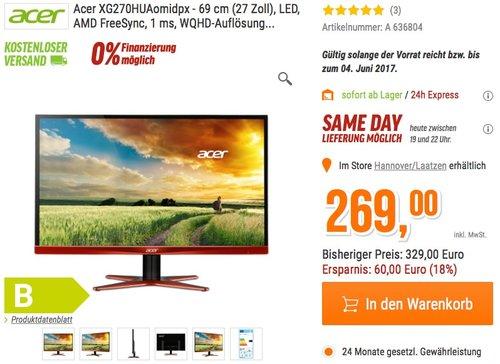 Acer Predator XG270HUA 69 cm (27 Zoll) eSports Monitor - jetzt 18% billiger