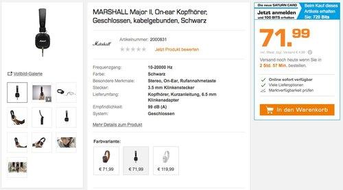Marshall Major II Bluetooth OnEar Kopfhörer schwarz - jetzt 27% billiger