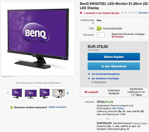 BenQ EW3270ZL LED-Monitor 81,28cm (32 Zoll) - jetzt 20% billiger