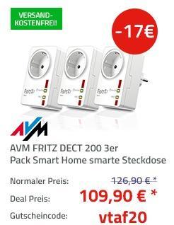 AVM FRITZ DECT 200 3er Pack Smart Home intelligente Steckdose - jetzt 13% billiger