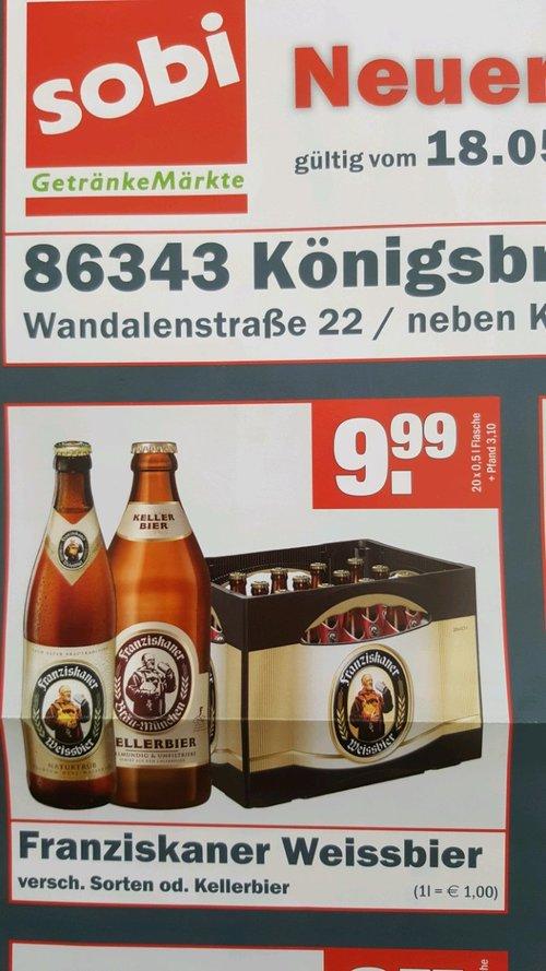 Franziskaner Weissbier Ka. 20x0,5 l Flasche - jetzt 33% billiger
