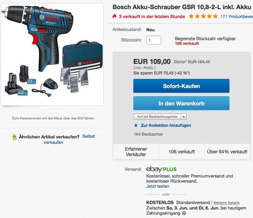 Bosch Professional GSR 12V-15 Akku-Bohrschrauber - jetzt 15% billiger