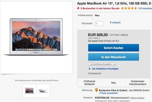 """Apple MacBook Air 13,3"""" (Intel Core i5 1.6GHz, 128GB Flash, 8GB RAM, Intel HD Graphics 6000 Grafikkarte, MAC OS) - jetzt 12% billiger"""