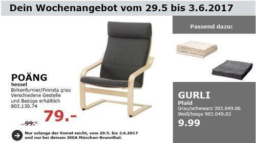 IKEA POÄNG Sessel, birkenfurnier grau - jetzt 20% billiger