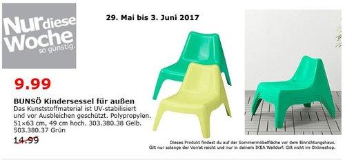 IKEA BUNSÖ Kindersessel für außen, 51x63 cm. 49 cm hoch, gelb oder grün - jetzt 33% billiger