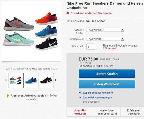 Nike Free Run – Damen und Herren Sneaker - jetzt 20% billiger