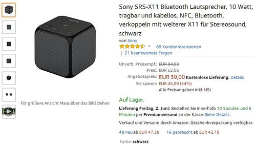 Sony SRS-X11 Bluetooth Lautsprecher schwarz - jetzt 25% billiger