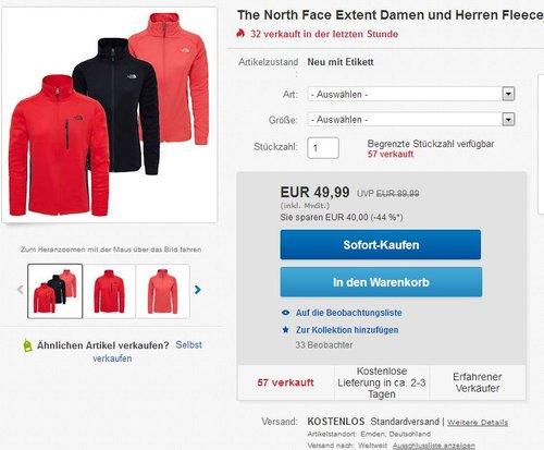 The North Face Extent Damen und Herren Fleecejacke - jetzt 20% billiger