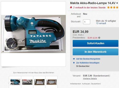 Makita Akku-Radiolampe BMR050 Lampe LED - jetzt 13% billiger