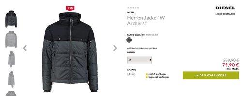 """DIESEL Herren Jacke """"W-Archers"""" M  - jetzt 43% billiger"""