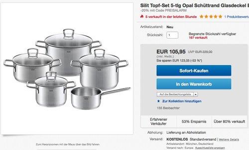 Silit Topf-Set 5-teilig Opal - jetzt 20% billiger