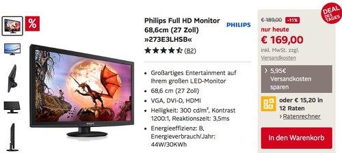 Philips Full HD Monitor 68,6cm (27 Zoll) »273E3LHSB« - jetzt 11% billiger