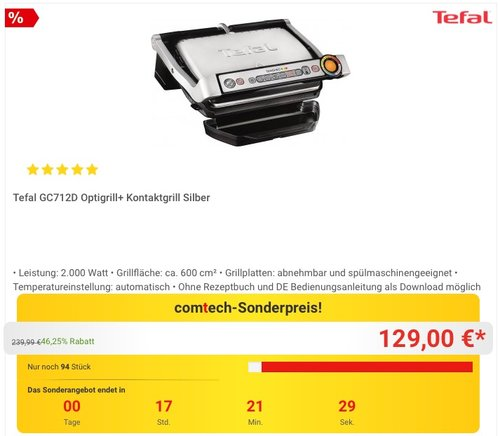 Tefal GC712D Optigrill plus - jetzt 13% billiger
