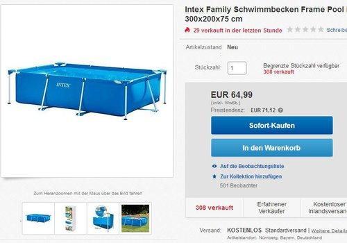 Intex Family Schwimmbecken, blau, 300 x 200 x 75 cm - jetzt 20% billiger