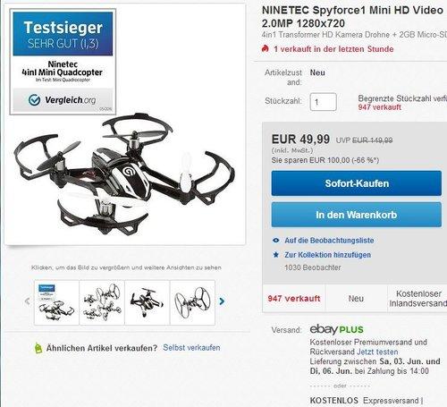 NINETEC Spyforce1 Mini HD Video Kamera Drohne 4in1 Quadrocopter - jetzt 29% billiger