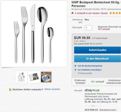 WMF Besteck-Set 60-teilig für 12 Personen Budapest Cromargan Edelstahl 18/10 poliert - jetzt 20% billiger