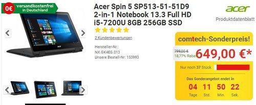 Acer Spin 5 (SP513-51-51D9) 33,8 cm (13,3 Zoll Full HD IPS) Convertible Notebook Win 10 Home - jetzt 12% billiger