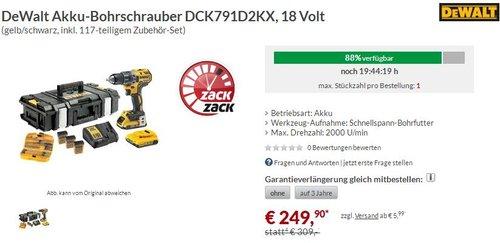 DeWalt Akku-Bohrschrauber DCK791D2KX, 18 Volt, plus 117-teiliges Zubehör-Set - jetzt 19% billiger