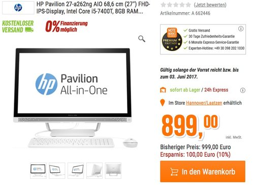 HP Pavilion (27-a262ng) 68,6 cm (27 Zoll) All-in-One Desktop PC - jetzt 10% billiger