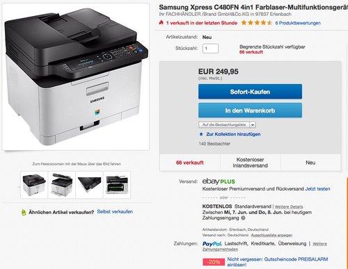 Samsung Xpress C480FN 4in1 Farblaser-Multifunktionsgerät - jetzt 20% billiger