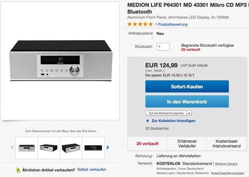 MEDION LIFE MD 43301 Micro-HiFi-System-Anlage - jetzt 20% billiger