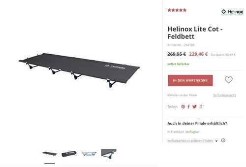 Helinox Lite Cot Feldbett - jetzt 15% billiger