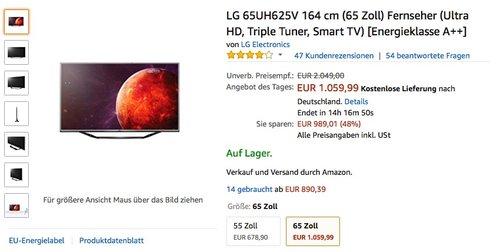 LG 65UH625V 164 cm (65 Zoll) Fernseher (Ultra HD, Triple Tuner, Smart TV) [Energieklasse A++] - jetzt 16% billiger