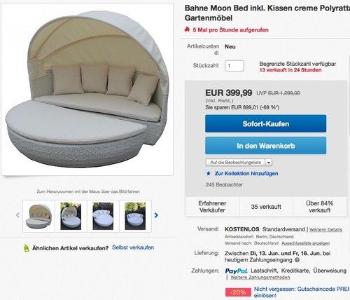 Bahne Moon Bed inkl. Kissen creme Polyrattan Sonneninsel Loungebett Gartenmöbel - jetzt 20% billiger